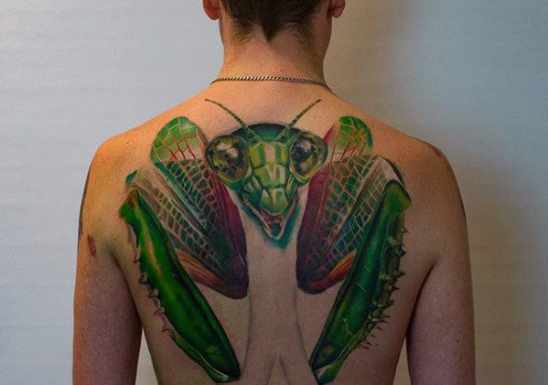 Cool Male Praying Mantis Tattoo Designs On Back