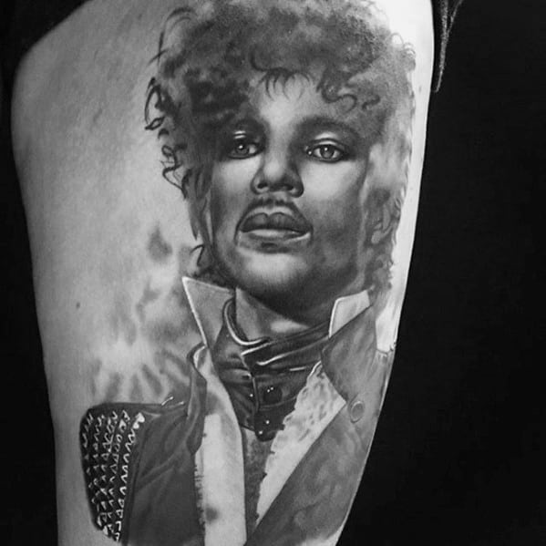 Cool Male Prince Tattoo Designs On Thigh Of Leg