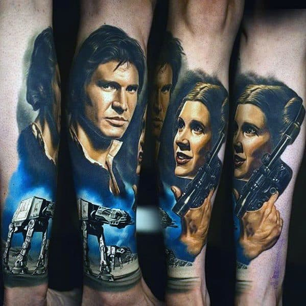 Cool Male Realistic Leg Han Solo Tattoo Designs