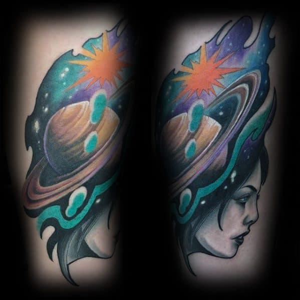 Cool Male Saturn Tattoo Designs