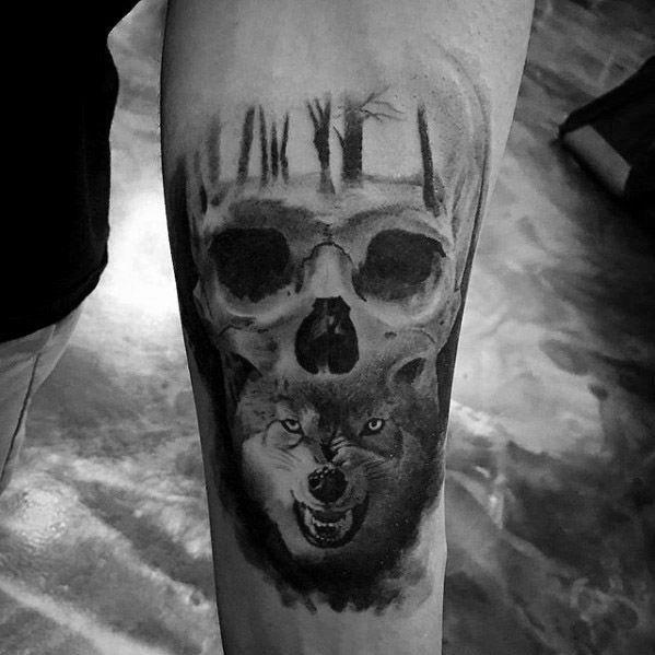 Cool Male Sick Wolf Skull Morph Inner Forearm Tattoo Designs