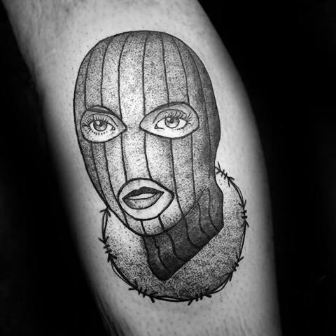 Cool Male Ski Mask Tattoo Designs