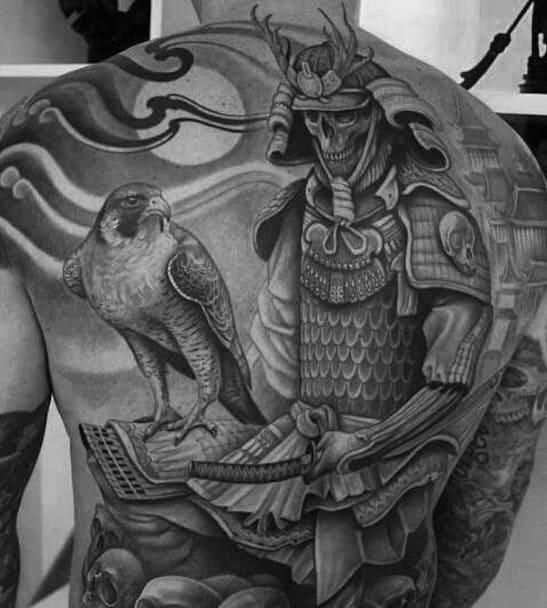 Cool Male Skull Back Tattoo Designs