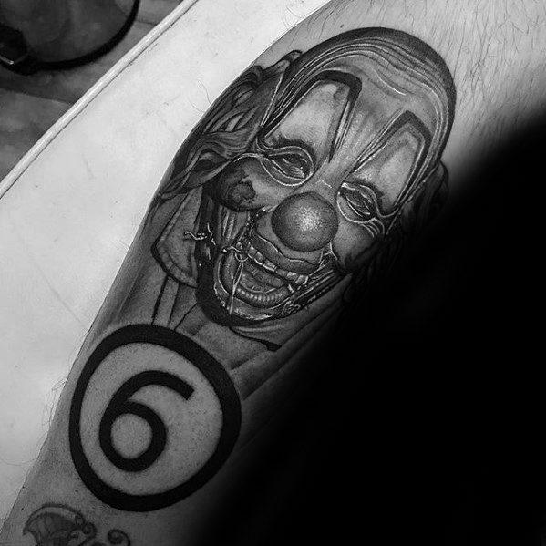 Cool Male Slipknot Tattoo Designs On Leg