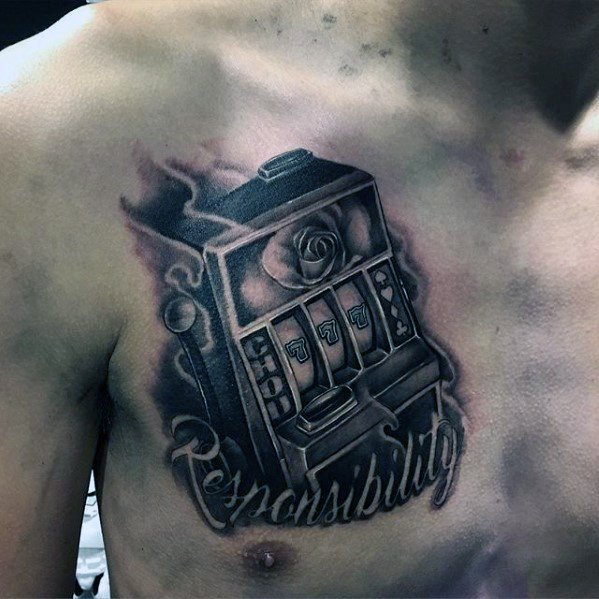 Cool Male Slot Machine 3d Upper Chest Tattoo Designs