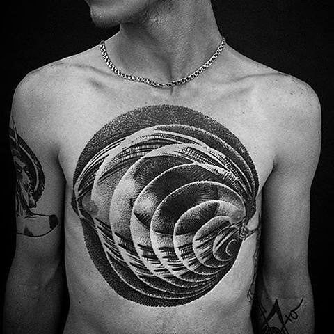 Cool Male Spiral Eye 3d Dotwork Chest Tattoo Design Ideas