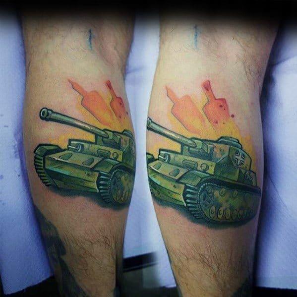 Cool Male Tank Tattoo Designs