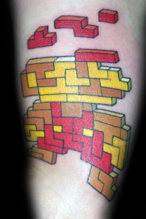 Cool Male Tetris Super Mario Themed Tattoo Designs