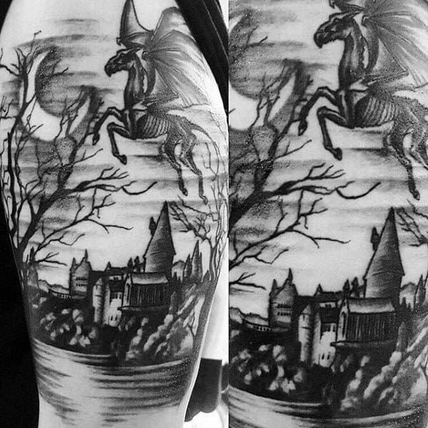 Cool Male Thestral Tattoo Designs