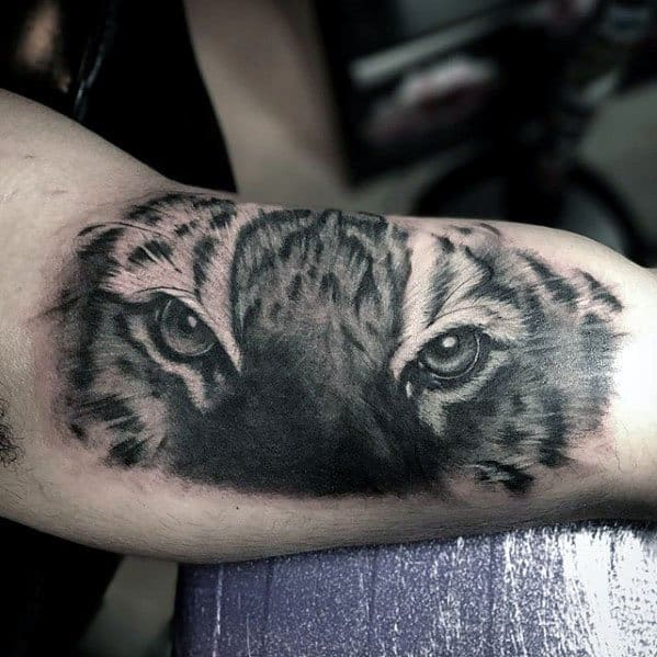 Cool Male Tiger Eyes Tattoo Designs On Bicep
