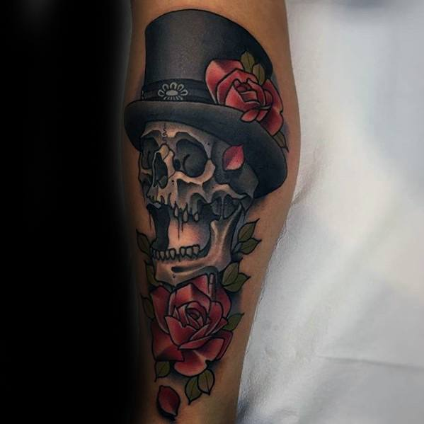 Cool Male Top Hat Skull And Rose Flower Leg Tattoo Designs