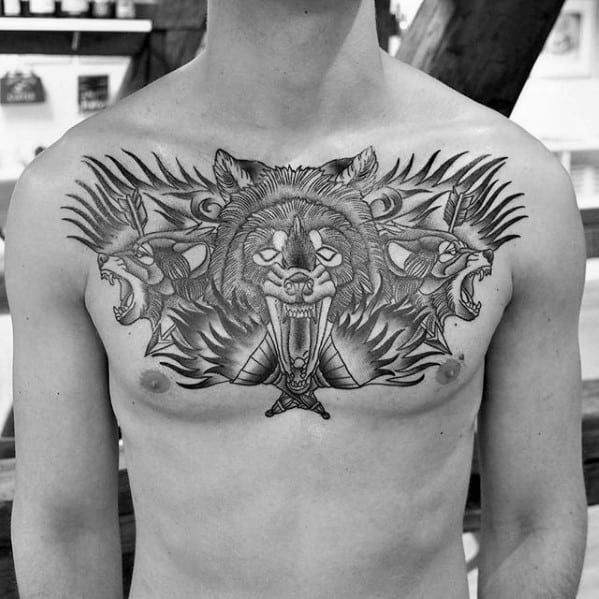 Cool Male Torch Chest Tattoo Designs