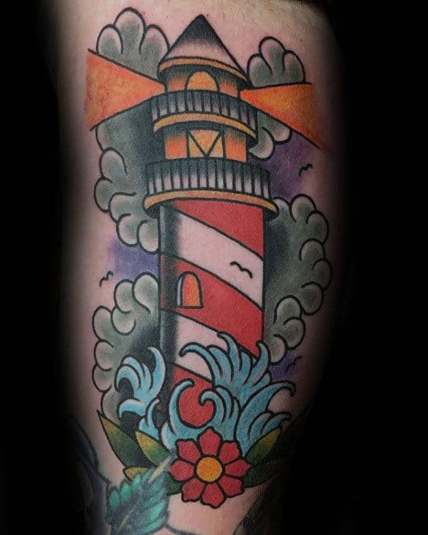cool-male-traditional-lgihthouse-arm-tattoo-ideas