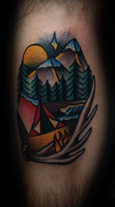 Cool Male Traditional Mountain Tattoo Designs