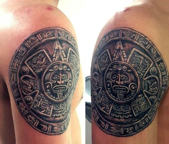 Cool Male Upper Arm Mayan Calender Tattoo Designs