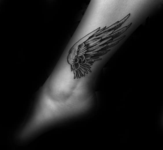 Cool Male Wing Ankle Tattoo Designs