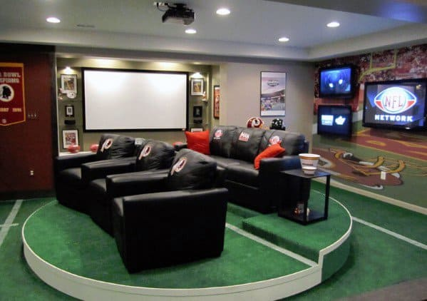 Cool Man Cave Ideas With Sports Theme And Artifical Turf Flooring