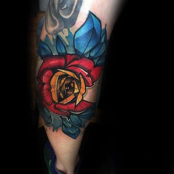 Cool Manly Colorado Rose Flower Mens Leg Tattoos