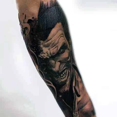 Cool Manly Guys Joker Sleeve Tattoo With Black And Grey Ink Shaded Design
