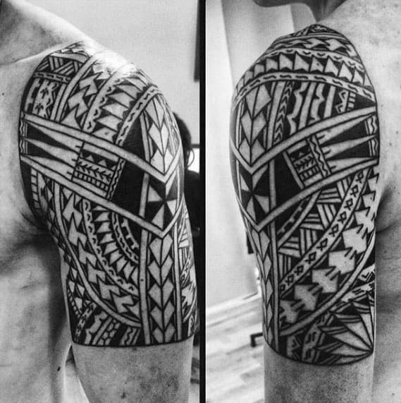 Cool Manly Polynesian Male Tribal Half Sleeve Tattoo Designs