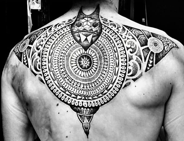 Cool Manta Ray Tribal Upper Back Tattoo Design Ideas For Male