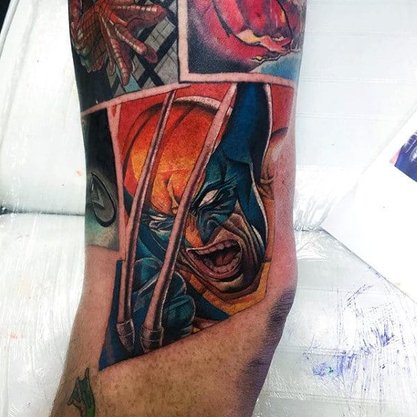 Cool Marvel Comic Wolverine Male Arm Tattoo Ideas