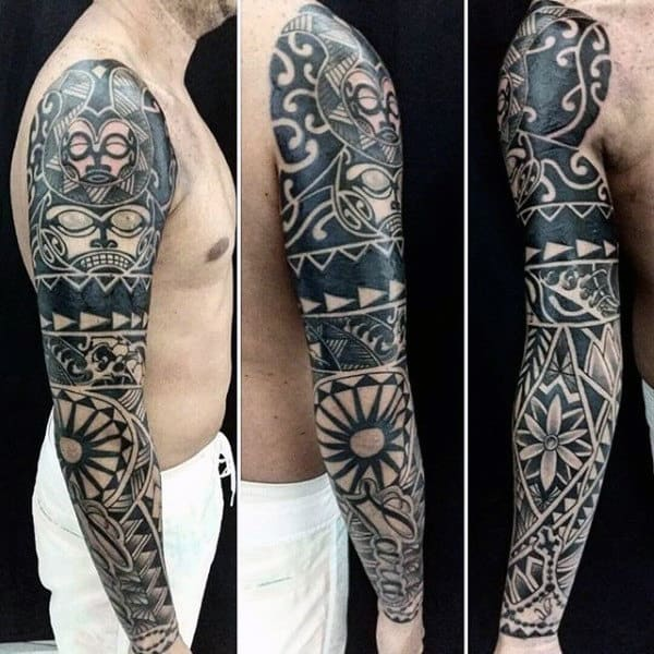 Cool Masculine Maori Blackwork Tattoo Sleeve Design
