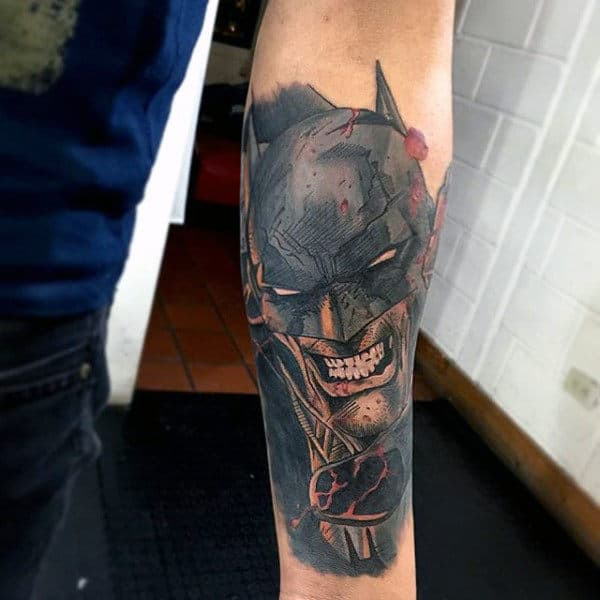 Cool Masculine Mens Batman Inner Forearm Tattoo Design Ideas