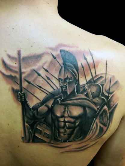 Cool Masculine Men's Spartan Tattoo Design Ideas On Shoulder