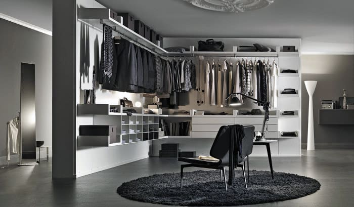 Cool Masculine Mens Walk In Closet With Seating