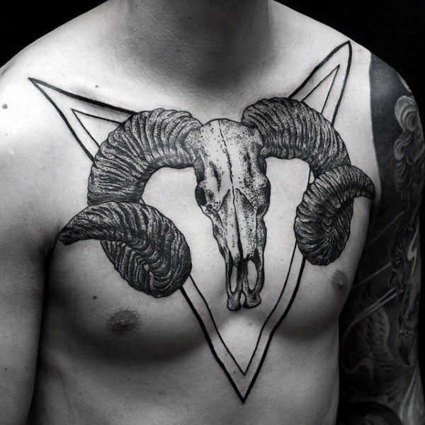 Cool Masculine Ram Skull Chest Mens Tattoos