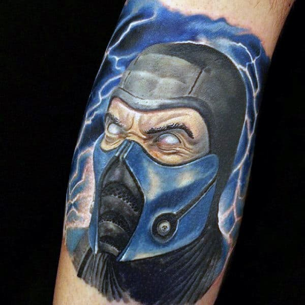 Cool Masked Man Video Game Lighting Tattoos For Guys With Blue Ink