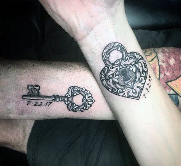 Cool Matching Tattoos For Couples Key And Lock