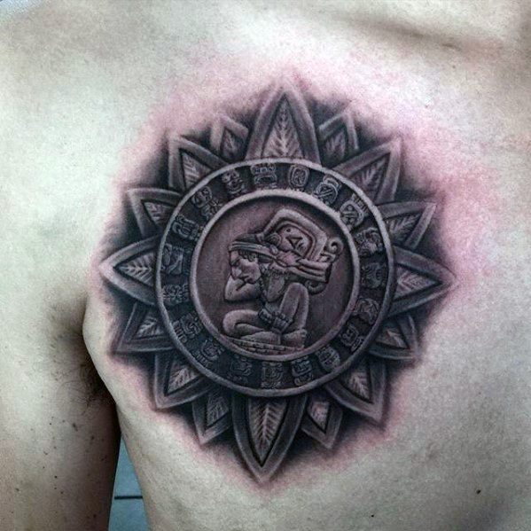 Cool Mayan Calender Tattoo 3d Design Ideas For Male On Chest