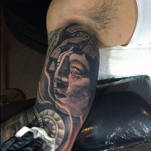 Cool Mayan God Mens Half Sleeve Tattoo Ideas