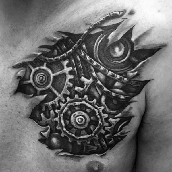 Cool Mechanical Gears 3d Mens Chest Cover Up Tattoo Ideas