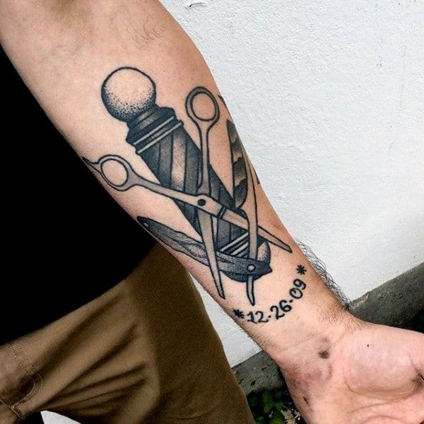 Cool Memorial Barbershop Pole And Scissors Mens Inenr Forearm Tattoo