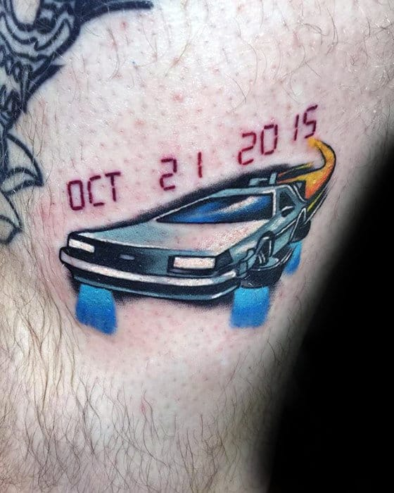 Cool Memorial Guy Delorean Back To The Future Arm Tattoos