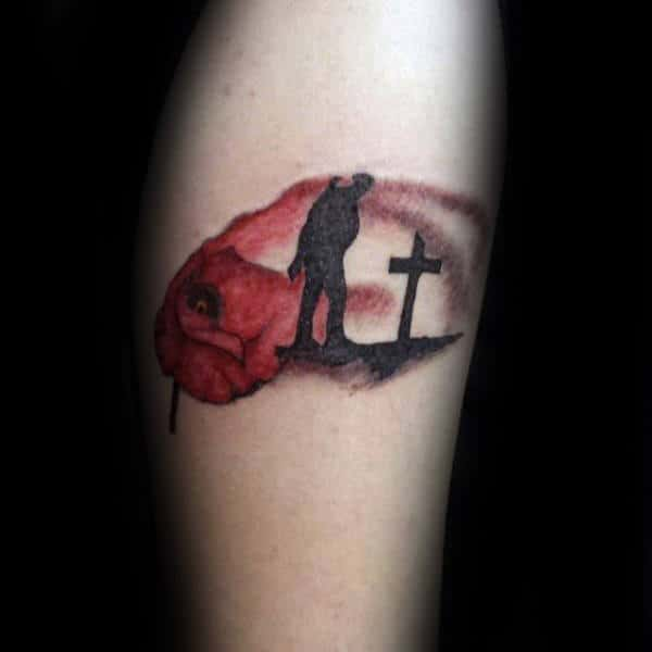 Cool Memorial Red Watercolor Poppy Flower Fallen Solider Arm Tattoo