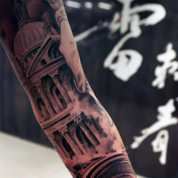 Cool Mens 3d Shaded Building Sleeve Tattoos