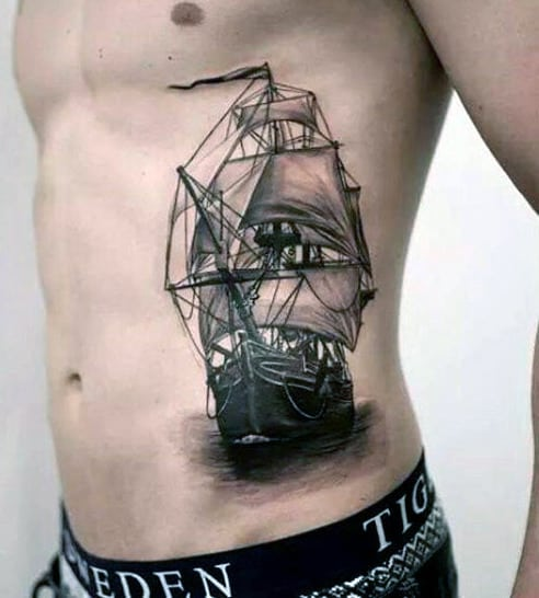 Cool Men's 3D Tattoos Ocean Ship
