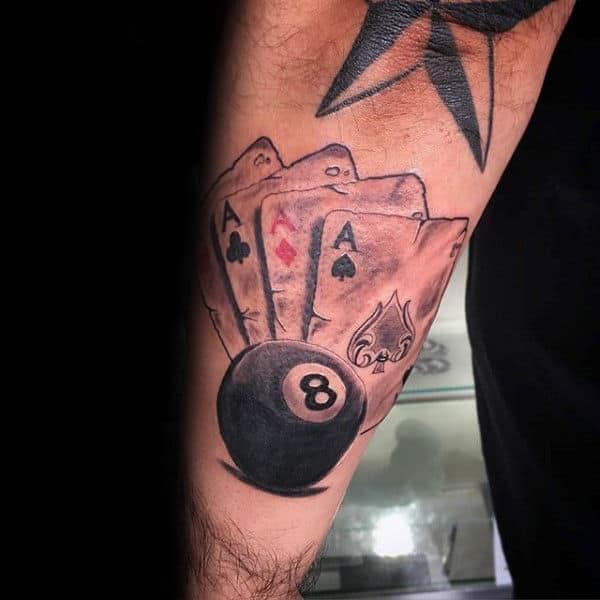 top 40 best 8 ball tattoo designs for men billiards ink ideas rh nextluxury com pictures billiard tattoos Pool Shark Tattoos