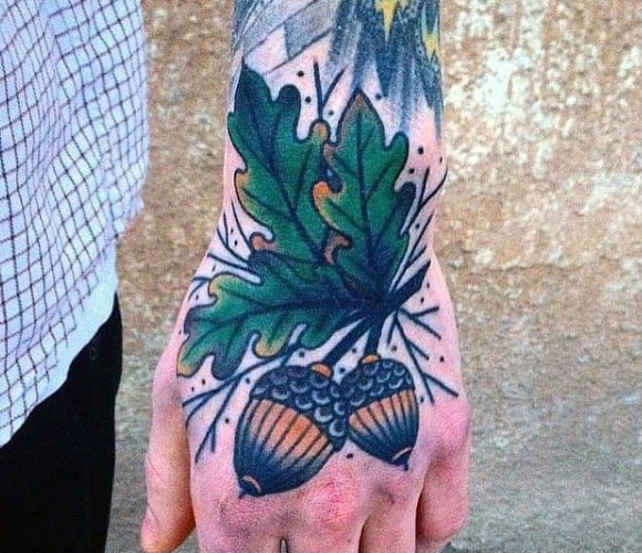 Cool Mens Acorn Hand Tattoos With Old School Deisgns