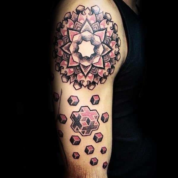 Cool Mens Amazing Dotwork Geometric Floral Upper Arm Tattoo