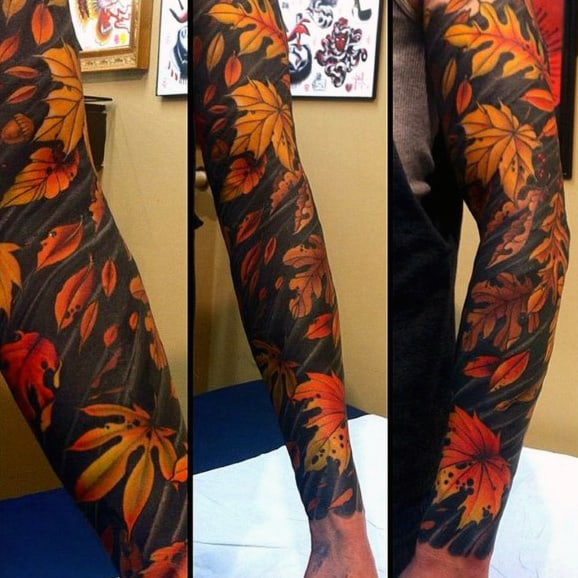Cool Mens Autumn Leaves Tattoos Full Sleeves