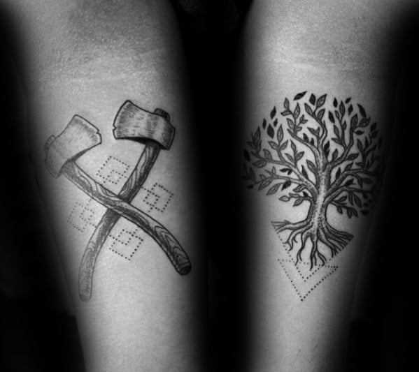 Cool Mens Axe With Geometric Tree Small Inner Forearm Tattoos