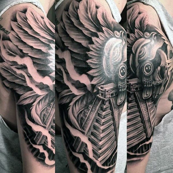 Cool Mens Aztec Pyramid Half Sleeve Tattoo With Angel Wings Design