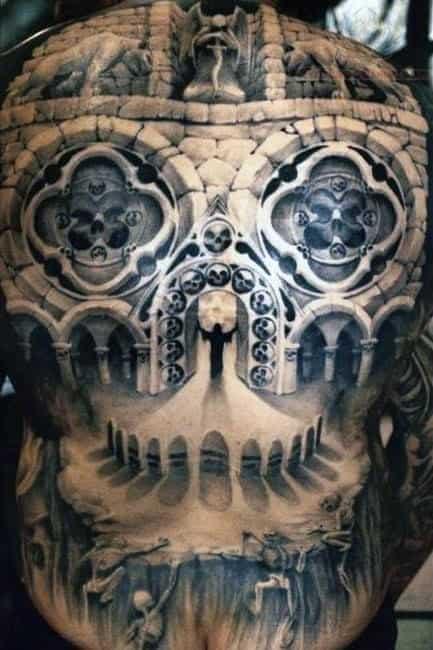 Cool Men's Back Skull Tattoos