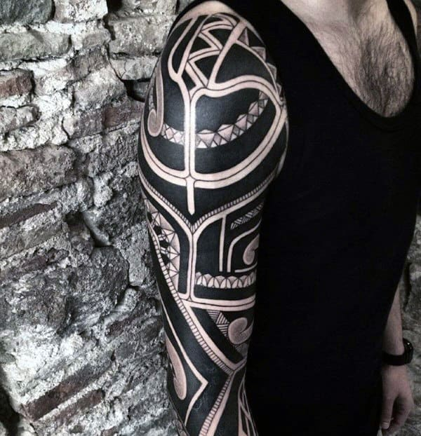 Cool Mens Badass Tribal Tattoos Full Arm Sleeve Design