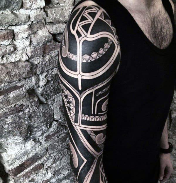 Cool Mens Badass Tribal Tattoos Full Arm Sleeve Design